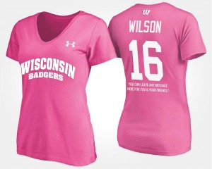 Wisconsin Badgers Russell Wilson T-Shirt With Message #16 For Women's Pink