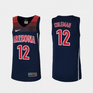 Arizona Wildcats Justin Coleman Jersey Navy #12 College Basketball Youth Replica