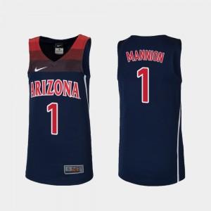 Arizona Wildcats Nico Mannion Jersey Replica Navy Youth(Kids) #1 College Basketball