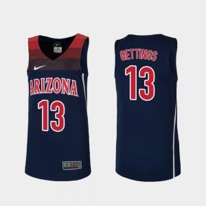 Arizona Wildcats Stone Gettings Jersey College Basketball #13 Navy Youth(Kids) Replica