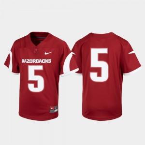 Arkansas Razorbacks Jersey Kids #5 Cardinal Football Untouchable