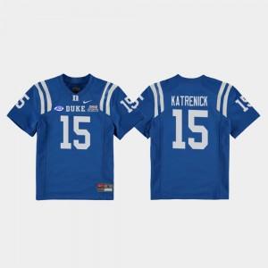 Duke Blue Devils Chris Katrenick Jersey Royal Kids #15 2018 Independence Bowl College Football Game