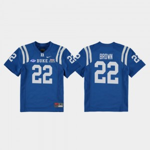 Duke Blue Devils Brittain Brown Jersey Royal Youth(Kids) College Football Game 2018 Independence Bowl #22