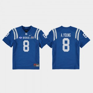 Duke Blue Devils Aaron Young Jersey 2018 Independence Bowl Youth Royal College Football Game #8