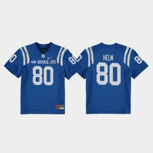 Duke Blue Devils Daniel Helm Jersey Youth Royal College Football Game #80 2018 Independence Bowl