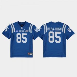 Duke Blue Devils Damond Philyaw-Johnson Jersey 2018 Independence Bowl Kids Royal #85 College Football Game