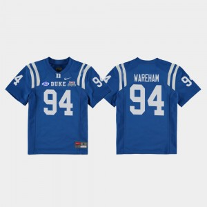 Duke Blue Devils Collin Wareham Jersey Royal 2018 Independence Bowl Youth(Kids) #94 College Football Game