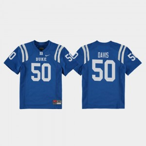 Duke Blue Devils Austin Davis Jersey Replica Youth(Kids) College Football Royal #50
