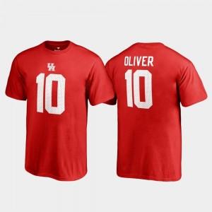 Houston Cougars Ed Oliver T-Shirt For Kids College Legends Red Name & Number #10