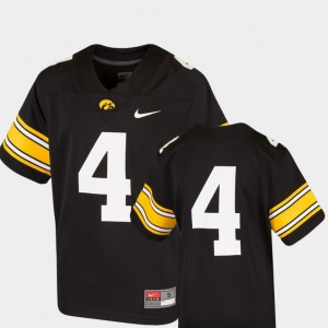 Iowa Hawkeyes Jersey Team Replica #4 College Football Black Kids