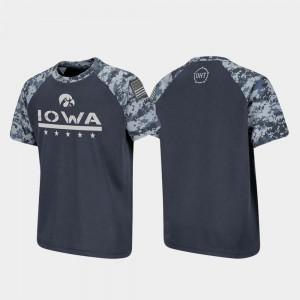 Iowa Hawkeyes T-Shirt OHT Military Appreciation Youth(Kids) Charcoal Raglan Digital Camo