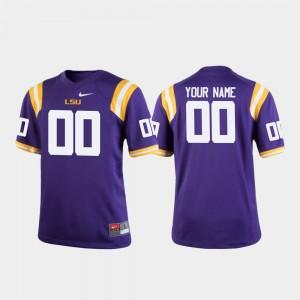 LSU Tigers Custom Jersey College Football Youth(Kids) Purple #00