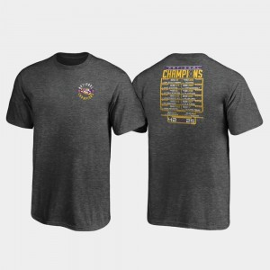 LSU Tigers T-Shirt Heather Charcoal Youth(Kids) 2019 National Champions Fumble Schedule College Football Playoff