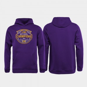 LSU Tigers Hoodie Purple College Football Playoff Official Logo 2019 National Champions For Kids