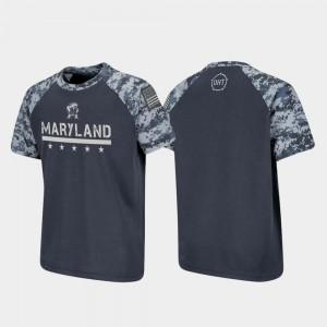 Maryland Terrapins T-Shirt Raglan Digital Camo OHT Military Appreciation Charcoal For Kids