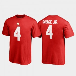 Maryland Terrapins Darnell Savage Jr. T-Shirt #4 Red Name & Number Youth College Legends