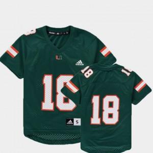 Miami Hurricanes Jersey Replica College Football #18 Green Youth