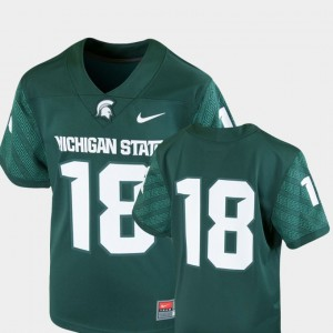 Michigan State Spartans Jersey Green #18 Team Replica Youth College Football