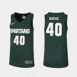 Michigan State Spartans Braden Burke Jersey #40 Replica College Basketball Green Youth