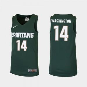 Michigan State Spartans Brock Washington Jersey Replica Green College Basketball Youth(Kids) #14