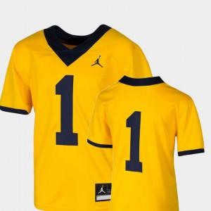 Michigan Wolverines Jersey Team Replica Maize #1 Kids College Football