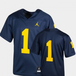 Michigan Wolverines Jersey College Football Navy #1 Youth Team Replica