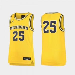 Michigan Wolverines Jersey Youth(Kids) Replica Basketball Maize #25