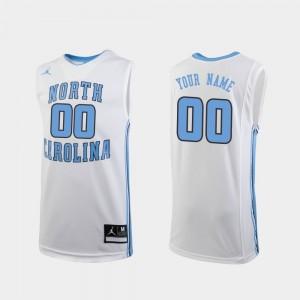 North Carolina Tar Heels Custom Jersey White #00 Youth(Kids) College Basketball Replica