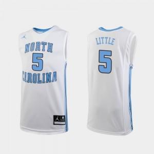 North Carolina Tar Heels Nassir Little Jersey Youth(Kids) #5 White Replica College Basketball