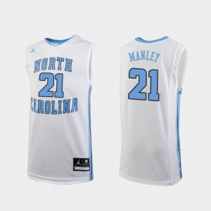 North Carolina Tar Heels Sterling Manley Jersey For Kids White Replica #21 College Basketball