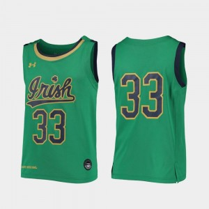 Notre Dame Fighting Irish Jersey Kelly Green Replica #33 For Kids College Basketball