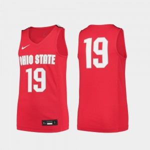 Ohio State Buckeyes Jersey College Basketball #19 Scarlet For Kids Replica