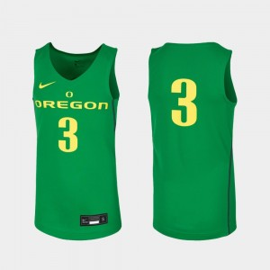 Oregon Ducks Jersey College Basketball Kelly Green Replica #3 Kids