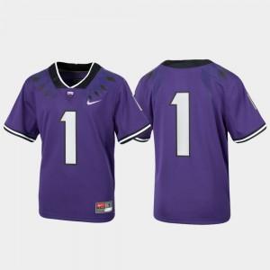 TCU Horned Frogs Jersey #1 Football Purple For Kids Untouchable