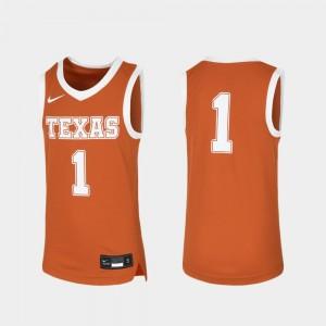 Texas Longhorns Jersey Kids Replica Basketball Orange #1