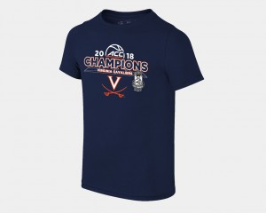 Virginia Cavaliers T-Shirt Youth Navy 2018 ACC Champions Locker Room Basketball Conference Tournament