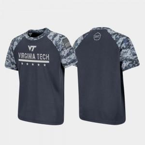 Virginia Tech Hokies T-Shirt Charcoal Raglan Digital Camo Youth(Kids) OHT Military Appreciation