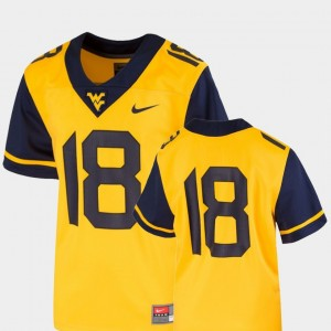 West Virginia Mountaineers Jersey Gold #18 Youth College Football Team Replica