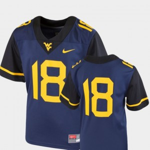 West Virginia Mountaineers Jersey College Football Team Replica #18 Kids Navy