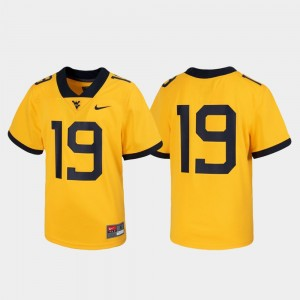 West Virginia Mountaineers Jersey Football #19 Untouchable For Kids Gold