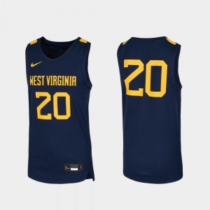 West Virginia Mountaineers Jersey Youth Replica Basketball #20 Navy
