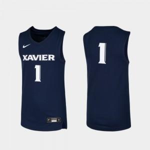 Xavier Musketeers Jersey #1 Basketball Replica Kids Navy